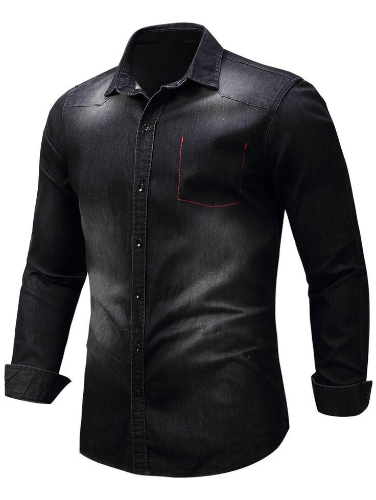 Bleached Pocket Long Sleeve Chambray Shirt - BLACK M