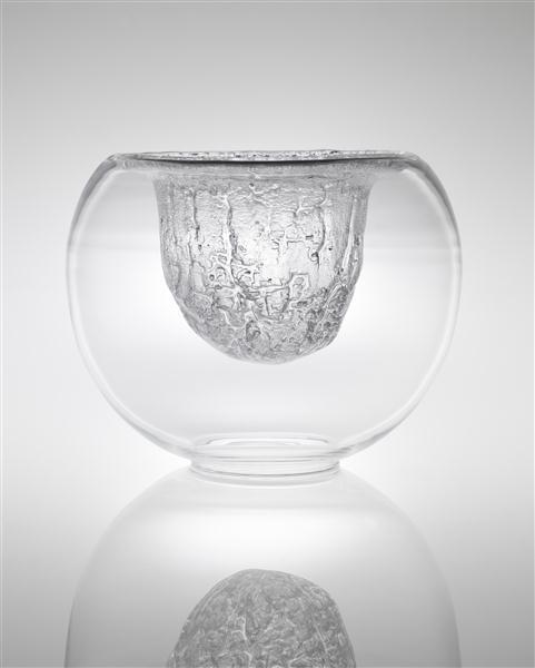 Timo Sarpavena; #3374 Glass Finlandia Bowl by Iittalia, c1968.