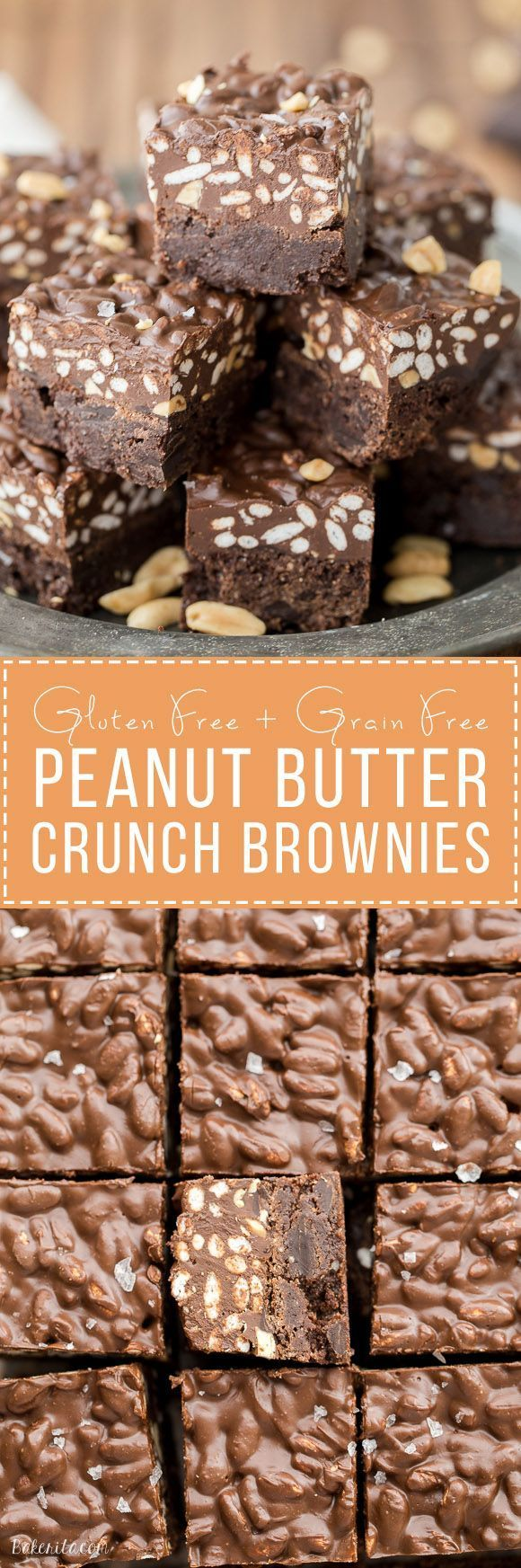 These Peanut Butter Crunch Brownies are incredibly rich and delicious, with a crunchy and fudgy topping. These gluten-free brownies were made for chocolate and peanut butter lovers!