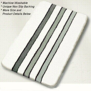 Luxury, Plush Contemporary High Pile Striped Bath Rug In Classic Black And  White Colors.