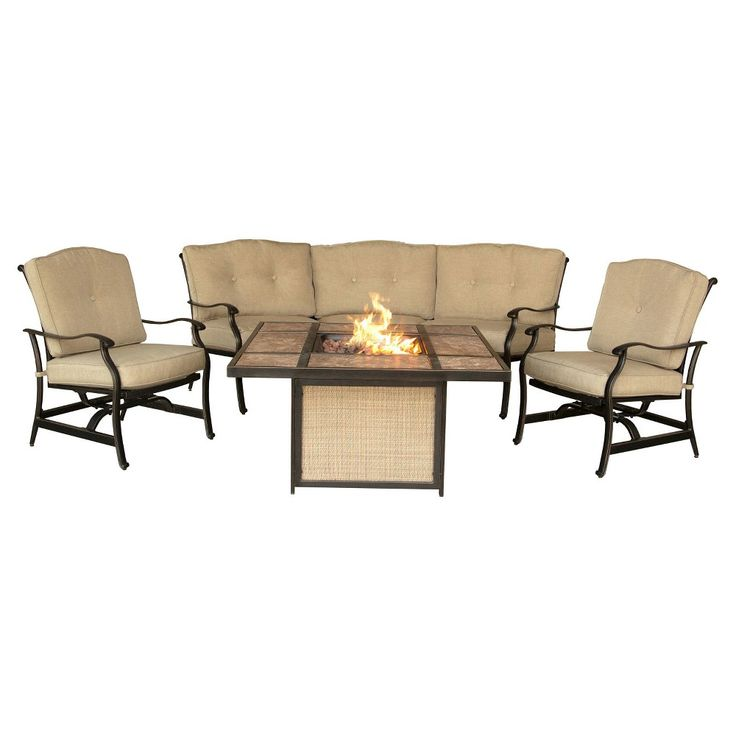 Hanover Outdoor Furniture Traditions 4-Piece Outdoor Lounge Set with Tile-top Fire Pit, Natural Oat