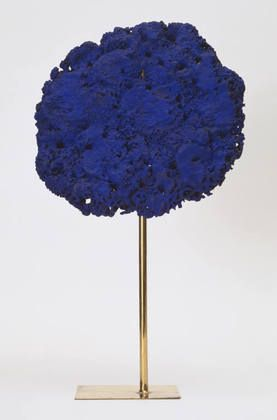 Yves Klein (French, 1928–1962) Untitled Date:1957Medium:Painted sponge, on brass-rod stand