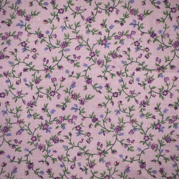 1 2 Yard Cotton Print Purple Calico Floral Quilting Or Craft Fabric Tiny Flowers Green Leaves Medium Weigh Printing On Fabric Calico Fabric Fabric Crafts