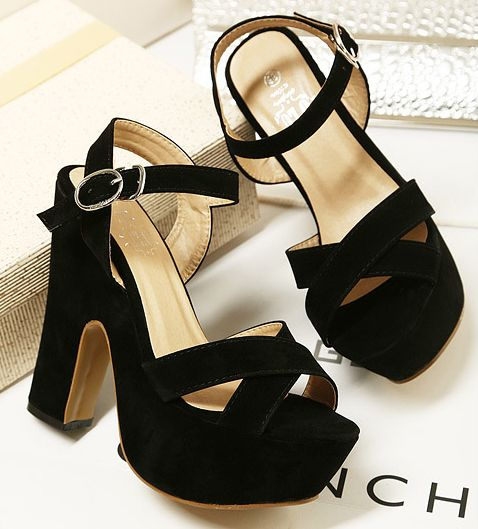 Free shipping Pedicure cross-strap velvet thick heel sandals black velvet women's shoes summer platform high-heeled shoes
