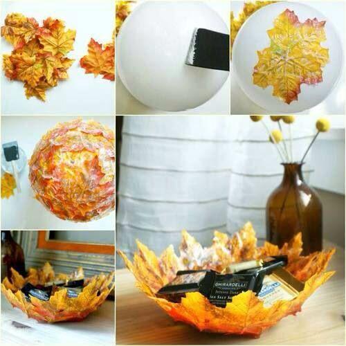 Leaf bowl with mod podge