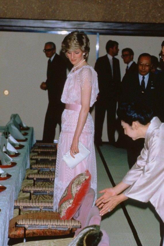 The Princess wore the Zandra Rhodes design for a state visit to Kyoto whilst on tour in Japan in 1986.