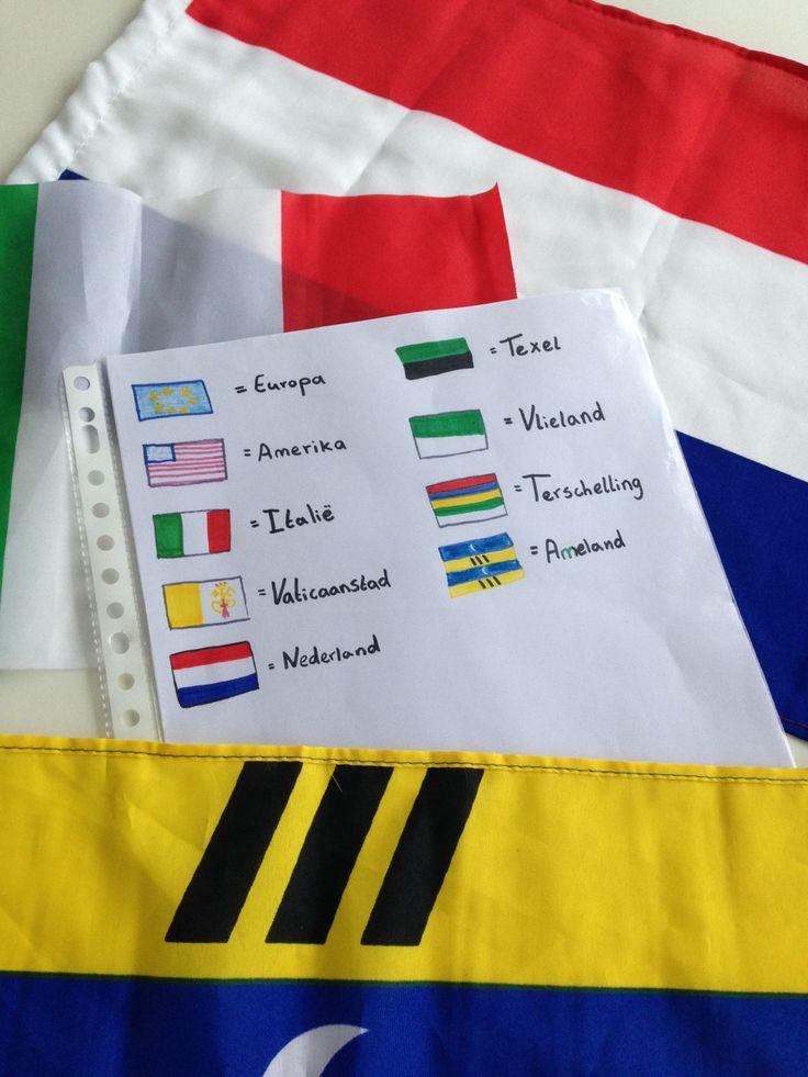 Zelfgemaakt spel. Vlaggetjes verzamelen van alle plekken waar je bent geweest. Uiteindelijk kunnen ll. zelf ook vlaggen meenemen waardoor het meer gaat leven. Zoek de juiste vlag bij het juiste land. kaartjes van landen en vlaggen zijn los.