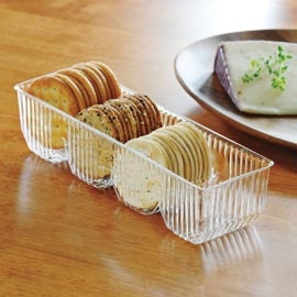"Serve crackers neatly in this ""unplastic"" tray that's actually handblown glass."