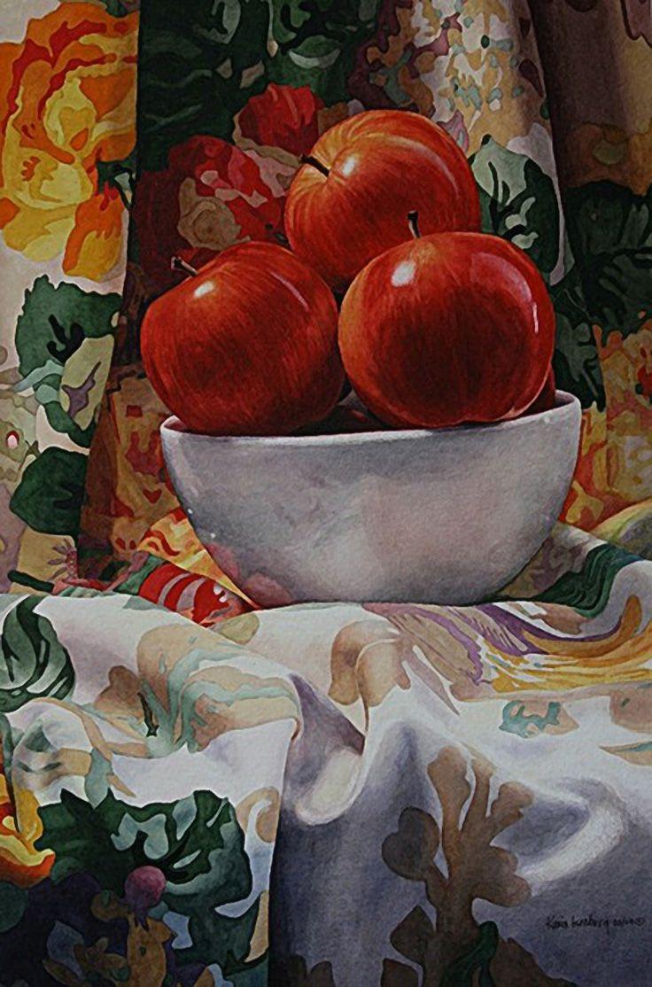 """Royal Galas"" - Karin Isenburg, watercolor {contemporary art apples fruit still life painting #loveart}"