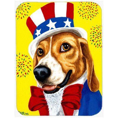 Caroline's Treasures Uncle Sam's USA Beagle Glass Cutting Board