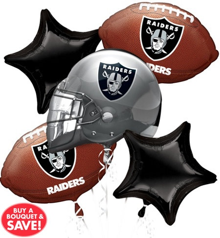 Go big or go home. Our Oakland Raiders Balloon Bouquet has enough football and team logo balloons to show off your team spirit in a big way. This helium quality set of foil balloons features a large helmet balloon with the team colors and logo, plus football balloons that also feature the team logo. Two matching star-shaped balloons complete the look. Display the football balloon bouquet at your tailgate or watch party. The bouquet contains a total of 5 balloons.