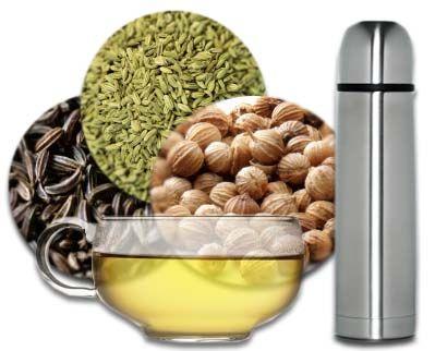 Thé Ayurvédique de purification abdominale : dans 1 litre d'eau, 1/2 c. à thé de cumin + 1/2 c. à thé de coriandre + 1/2 c. à thé de fenouil _ porter à ébullition _ laisser infuser 5 minutes _ filtrer _ boire tout au long de la journée 2 à 3 jours par semaine = véritable traitement de purification qui aura un effet positif sur tout l'organisme et permettra, en prime, d'éliminer les kilos superflus, surtout le gras accumulé autour de la taille
