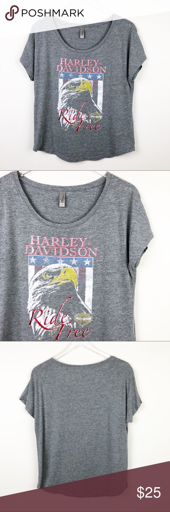 """Harley Davidson   Graphic Tee Rise Free Eagle Flag Women's fit graphic tee. Cap dolman Sleeve. Metallic accents on graphic.  ▪️Pit to Pit: 19"""" ▪️Length: 25"""" ▪️Condition: Pre-Owned. Excellent condition.  ▫️T16 Next Level Apparel Tops Tees - Short Sleeve"""