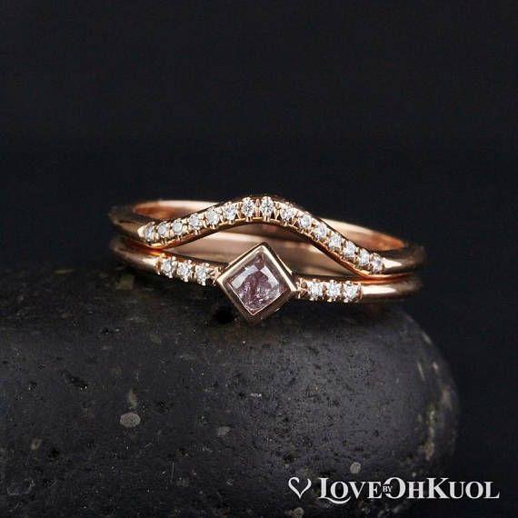 Minimalist Pink Diamond Engagement Ring & Curved Diamond