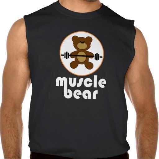 """Teddy bear with barbell in white circle and white""""muscle bear"""" text on sleeveless t-shirt."""