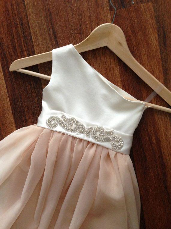 Blush, Coral, Mint, Grey, Ivory, One Shoulder Flower Girl Dress / Special occasion dress / Rhinestone Sash - CHOOSE COLOR