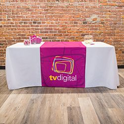 Shop trade show table covers and runners- custom printed table covers with your logo. Best prices & easy ordering, browse our huge selection of custom tablecloth options now. Ordering a customized tablecloth has never been easier!