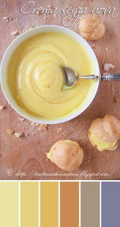 Crema pasticcera senza uova**200ml di latte intero** 30g di farina 00** 10g di Maizena ovvero amido di mais ( la prossima volta ridurro la dose a 6g)** 60/80g di zucchero (io l'ho fatta con 80 e l'ho trovata un pelo dolce, quindi ridurre a 70)** buccia grattugiata di limone** un pizzico di sale alla vaniglia (o sale normale)** la punta di un coltello di curcuma o colorante giallo (facoltativi, per dare la colorazione gialla)