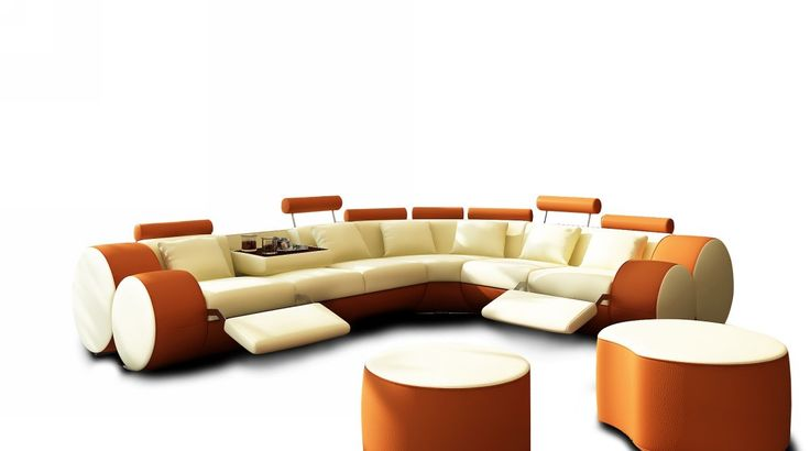 3087 Modern Beige And Orange Leather Sectional Sofa And Coffee Table