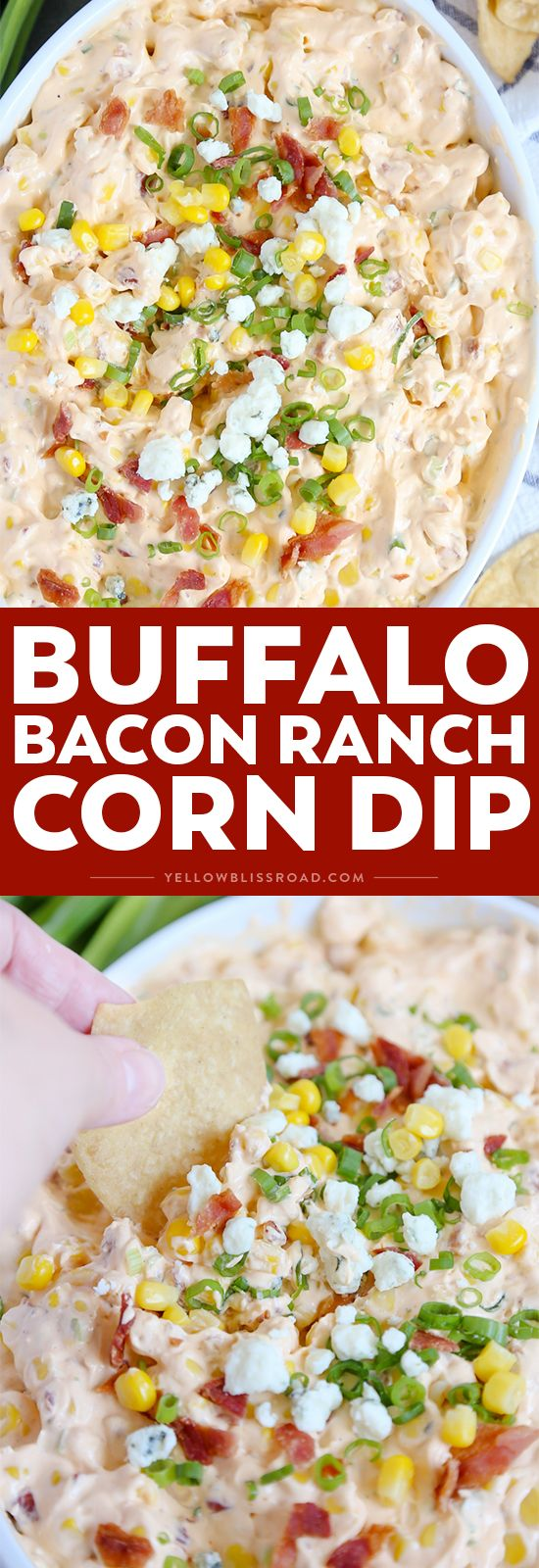 My Buffalo Bacon Ranch Corn Dip is a real crowd pleaser, with spicy buffalo wing sauce, sweet corn, tangy blue cheese and creamy ranch!