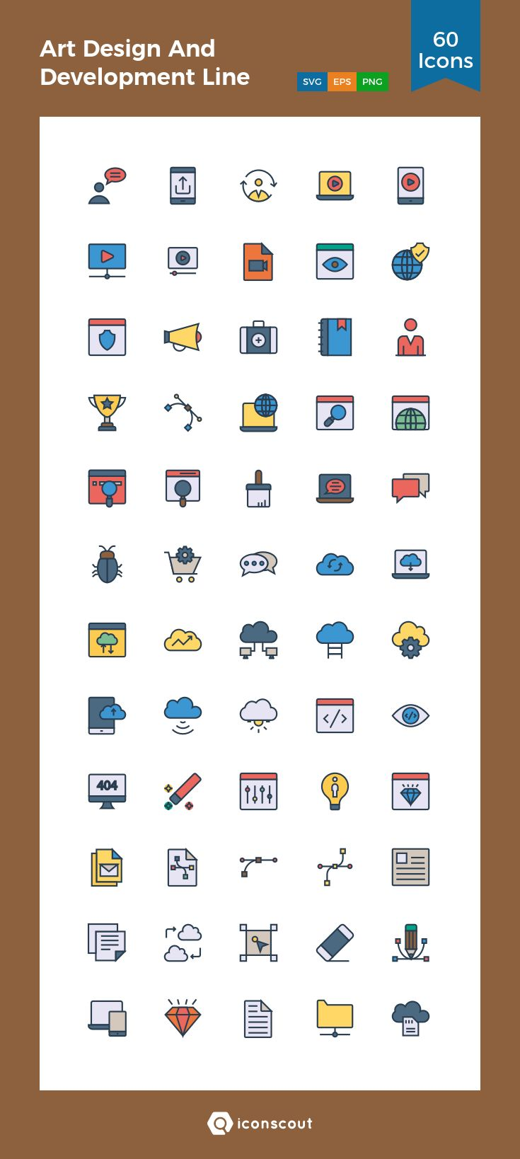 Art Design And Development Line Icons  Icon Pack - 60 Filled Outline Icons