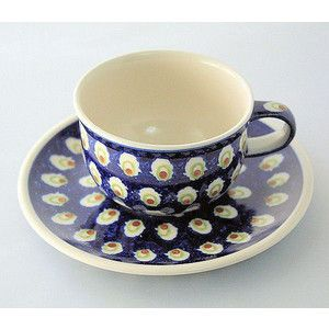 ドイツ ハイゼ陶器 ブンツラウワー陶器 カップ&ソーサー 0.2L / グリーンリング
