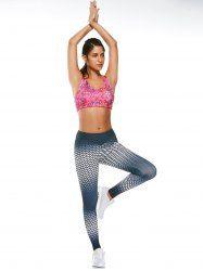 Polka Dot Ombre Printed Funky Gym Leggings - BLACK GREY L Mobile