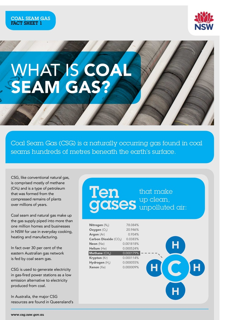 Coal Seam Gas is a naturally occurring gas found in coal seams hundreds of metres beneath the earth's surface. Coal seam and natural gas make up the gas supply piped into more than one million homes and businesses in NSW for use in everyday cooking, heating and manufacturing. Find out more on the NSW Coal Seam Gas website.