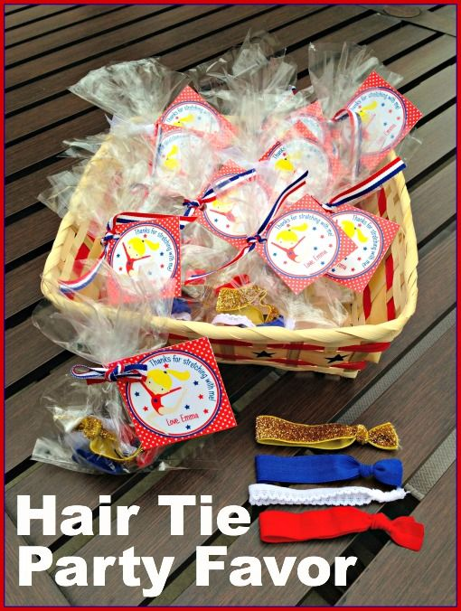 Hair Tie Party Favors for Girls. Loved doing these favors that kids can actually USE!
