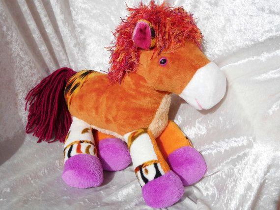 Impala PlushBumPony  Soft Home Decor HORSE by TALLhappyCOLORS #stuffedHorse #unique #handmade #ooak #horse #homedecor #orange #fawn #soft #wild