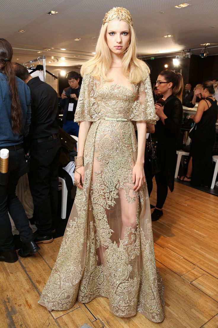 Gorgeous Elie Saab Backstage at HC F/W 2015! The gold lace and full skirt are PERFECT!