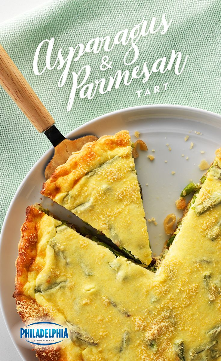 Hosting Easter brunch this year? Try this egg-cellent tart made with PHILADELPHIA Cream Cheese, fresh asparagus, sour cream and KRAFT Shredded Parmesan Cheese.