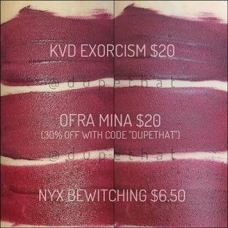 "Two dupes for KVD's ""Exorcism"" ($20)"