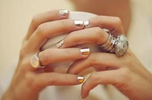 14 Holiday Nail Trends We Fell For: Metallic Gold Nail Wraps Paired With Gold Jewelry = Divine