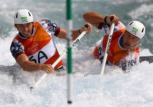 David Florence and Richard Hounslow compete in the heats.