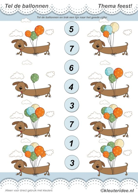 Tel de ballonnen, thema feest voor kleuters, juf Petra van kleuteridee, count the balloons, free printable.