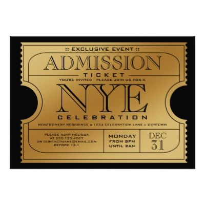 I love the idea of a gold ticket included with the invitation  (although this looks kinda 1920s-ish)
