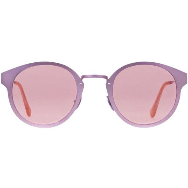 RETROSUPERFUTURE Super Panama Synthesis Pink Metal (£235) ❤ liked on Polyvore featuring accessories, eyewear, sunglasses, glasses, oculos, home, round, women's, rounded glasses and mirror lens sunglasses