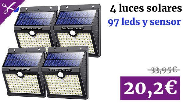Luz Solar Exterior Vooe Version Alta Calidad 97 Led Foco Solar Con Sensor De Movimiento Iluminacion Luces Solares Luces Solares Sensores De Movimiento Focos