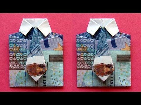 Geldscheine falten: Hemd - zum Geldgeschenke basteln - YouTube