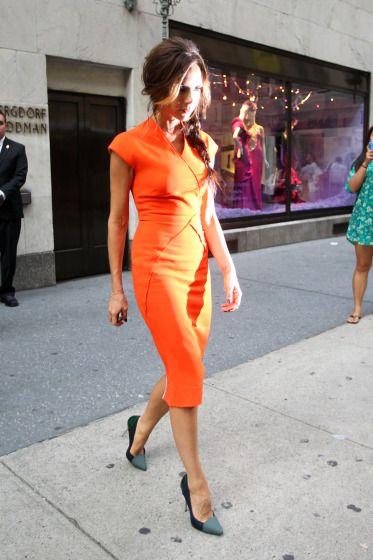 Photos - Designer Victoria Beckham Wears Bright Orange Dress for Fashion s  Night Out - 7 - Celebuzz 21038d35c