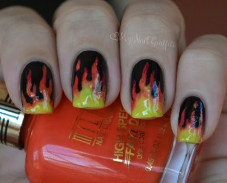 My Nail Graffiti: Flame Nail Art by Dustin