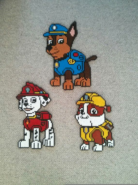 Paw patrol: Chase Rubble and Marshall hama by CraftyDanCreations