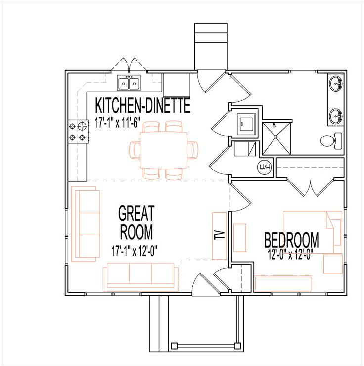 Rustic craftsman open house floor plans 1 story 1 bedroom for 1 bedroom cottage floor plans