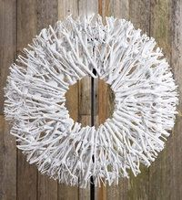 White Christmas twig stick wreath 57cm