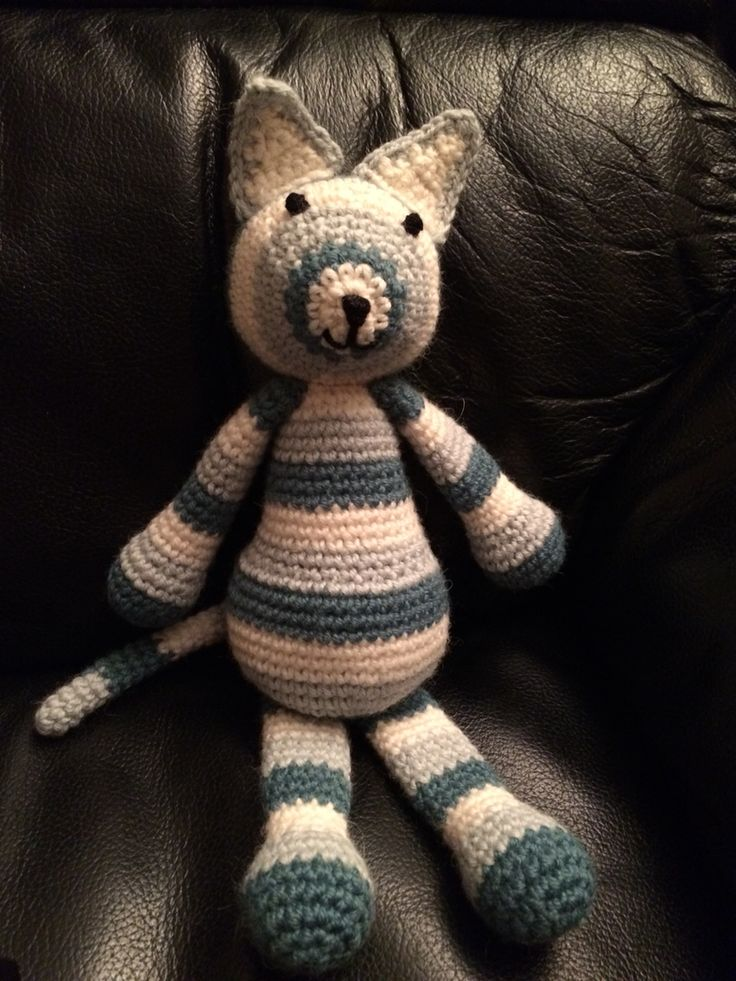 Cat for baby Z. Edward's Menagerie pattern but with modified ears.