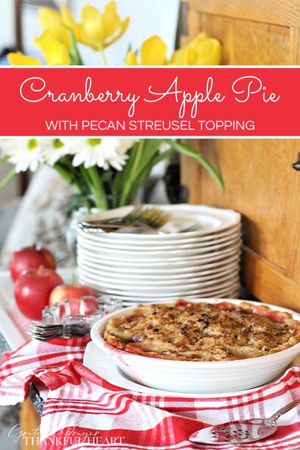Cranberry Apple Pie with Pecan Streusel