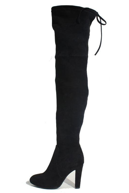 Usti Over the Knee Suede Boots - Black