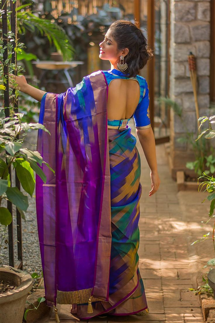 Blue green mustard Pochampally Ikat pure silk with details Indian saree