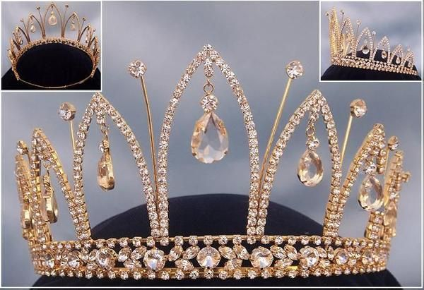 Unique and elegant tiara ideal for a homecoming, quince, pageant or other high social event. This tiara is set in gold tone metal, clear sparkling crystals an